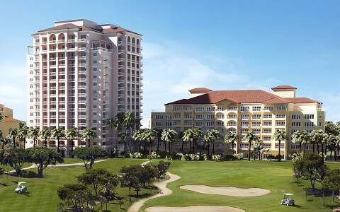 Bird's Eye View of the 2 buildings and golf course of the JW Marriott Turnberry Miami Resort