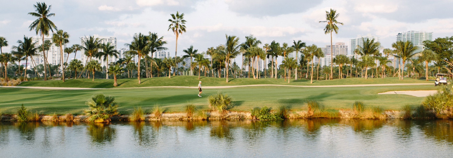 lake at golf course and palm trees