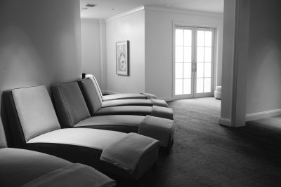 black and white image of spa loungers