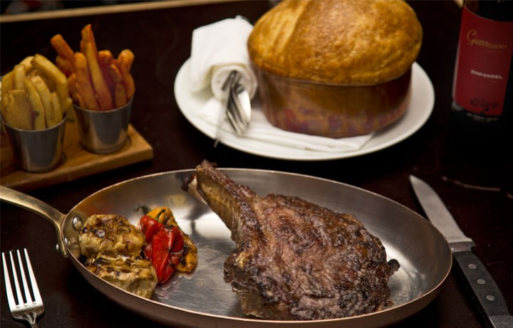 Steak served on pan at Bourbon Steak 1