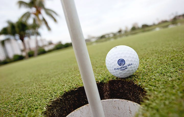 golf ball with logo falling into hole