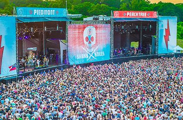 Overhead view of large crowd in front of two stages at the Shaky Knees Fest