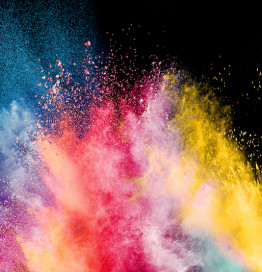 explosion of color against black background