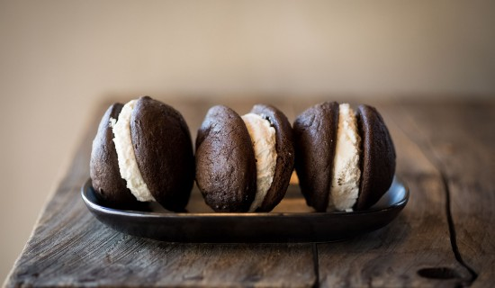 chocolate sandwiches with cream between them