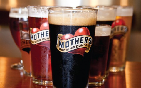 Mothers Brewing Company logo on glasses filled with beer