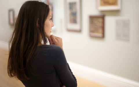 Woman looking at gallery
