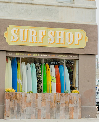 surf shop side with sign