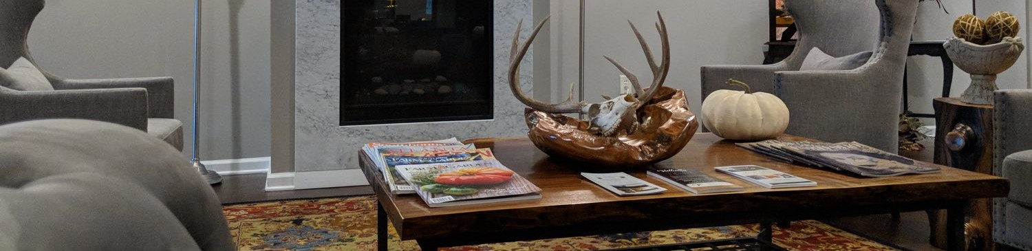 wooden table with animal antlers on table