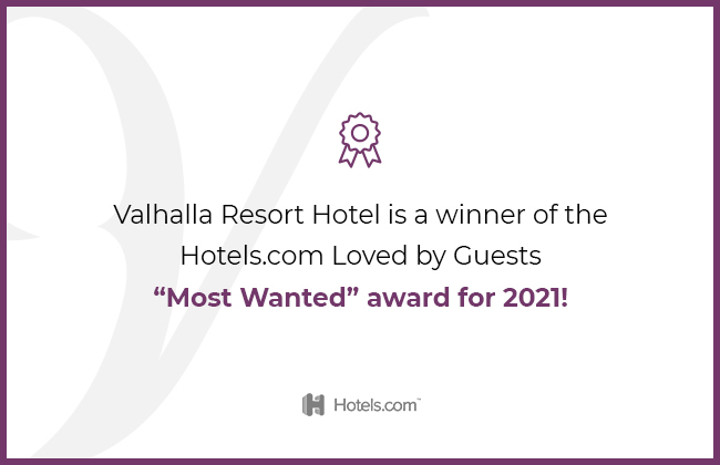 valhalla resort hotel is a winner of the Hotels.com loved by guests