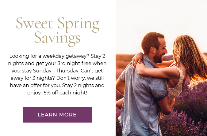 stay 2 nights and get your 3rd night free when you stay sunday - thursday. stay 2 nights and enjoy 15% off each night.