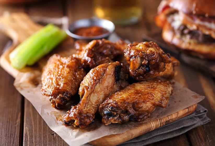 Hot Wings with celery in background