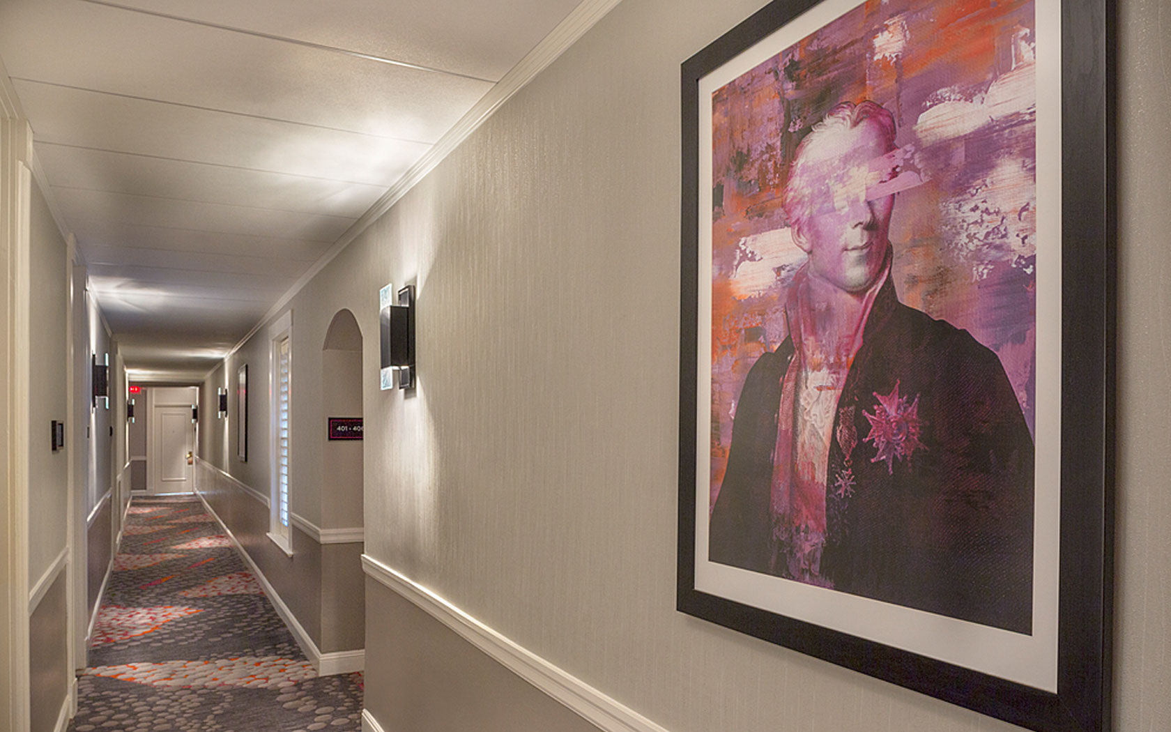 Hallway with picture on the wall