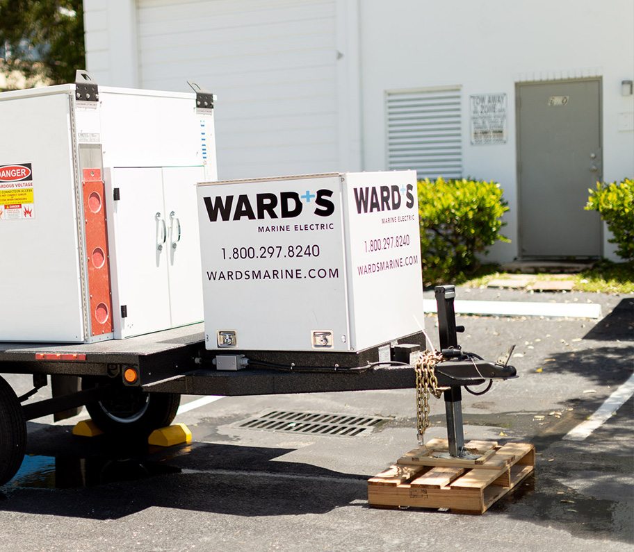 a dockside electrical converter being carried on a moving truck