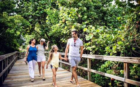 Family walking on wooden bridge toward beach