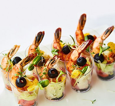 Small appetizers with shrimp