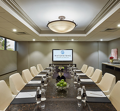 Executive boardroom, showing long tables with chairs & projection screen