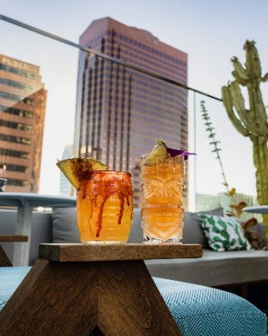 two cocktails on the wayfarer rooftop