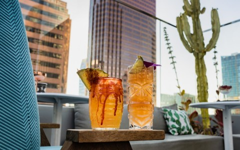 trendy cocktails on rooftop bar with city backdrop