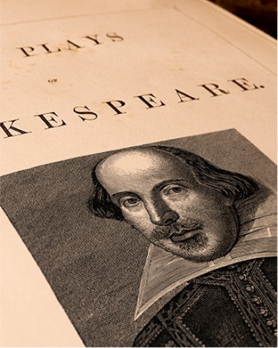 picture of shakespeare on a page in a book