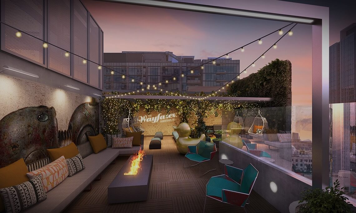 rooftop with chairs and a firepit
