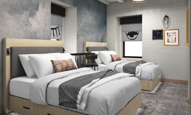 Wayfarer private two queen includes 2 queen beds for 4 guest. Stand-up workstation, streaming on the wall-mounted HDTV.