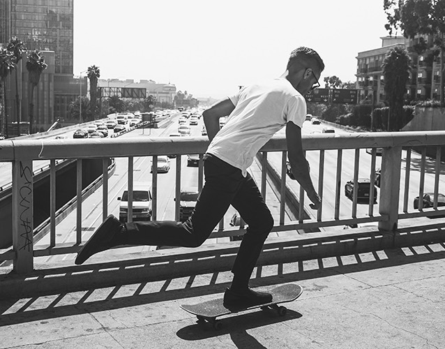 man on a skateboard in the city