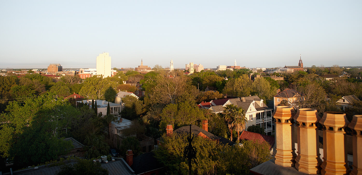 hotel view of charleston as sun sets
