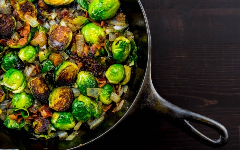 skillet with roasted brussels sprouts