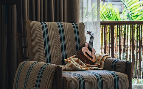 armchair with a ukulele and view of the outside patio