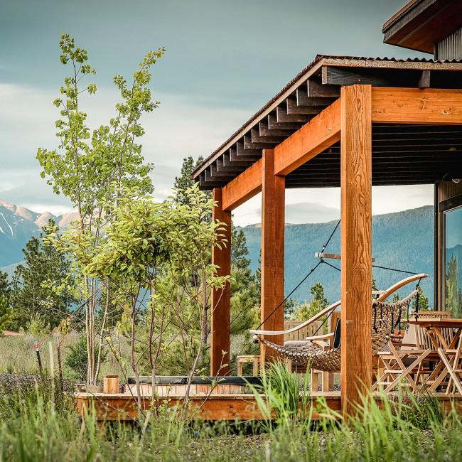 Cottage porch with view of mountains