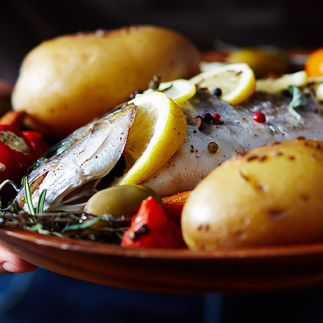 fish platter with potatoes