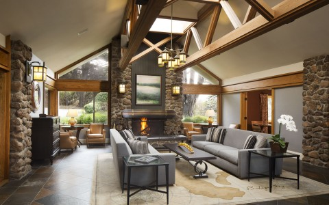 bodega bay lounge room with sofas and a fireplace