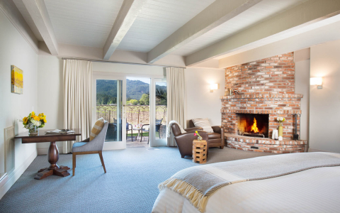 vineyard view room with a large fireplace and balcony overlooking the vineyards