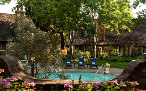 peaceful pool area at harvest inn surrounded by greenery