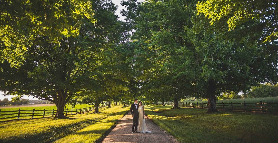 Wedding couple standing on long path surrounded by trees
