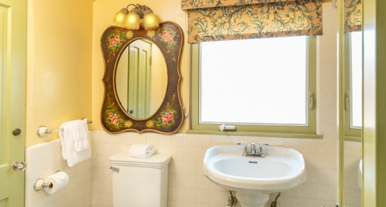 toilet and sink with floral mirror