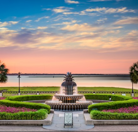Charleston fountain at sunset