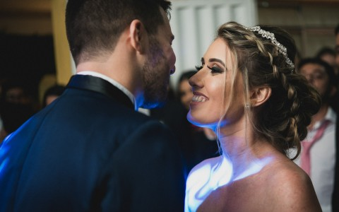 bride and groom sharing their first dance together