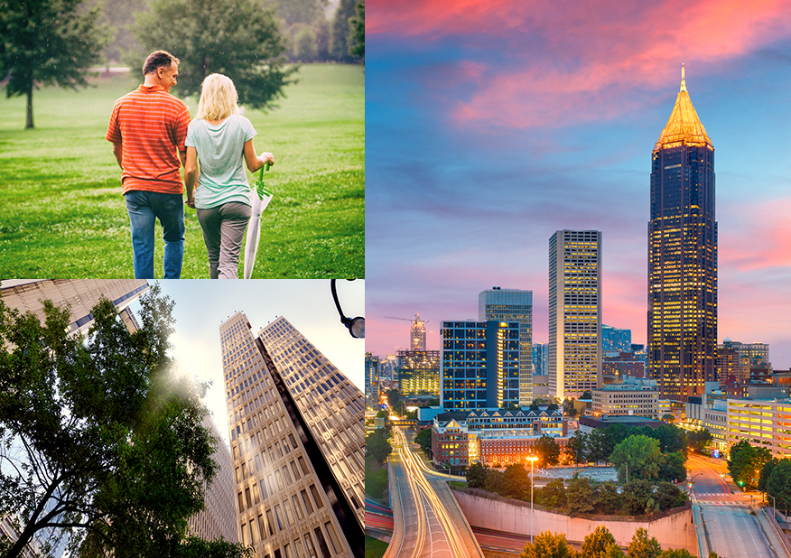 collage of pictures of downtown atlanta buildings and a man and woman walking in a park