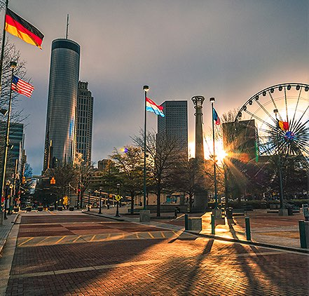 atlanta's centennial olympic park seen at sunrise