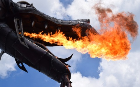 dragon statue breathing fire