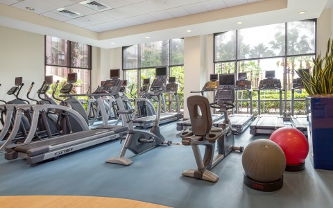 a fitness center at the hotel with a lot of cardio machines