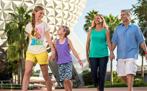 family walking at Epcot in front of Spaceship Earth ride