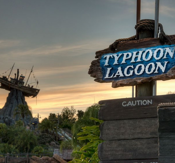 Typhoon Lagoon water park at Disney at dusk