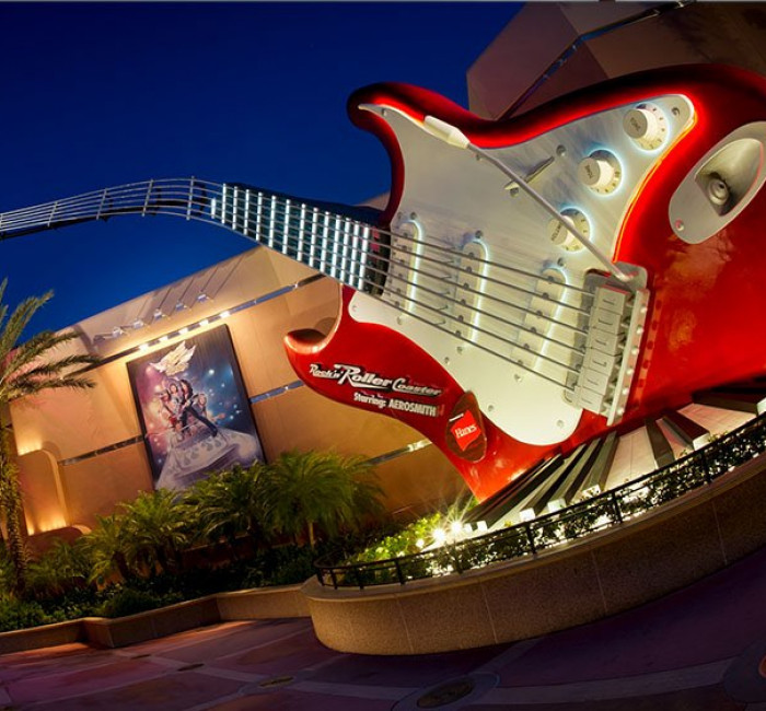 Aerosmith Rockin' Roller Coaster at Hollywood Studios park at night