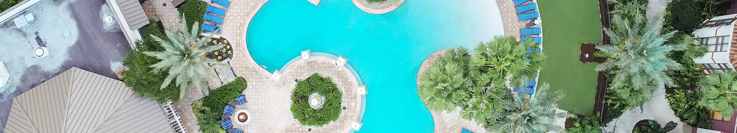 Ariel view of a large pool