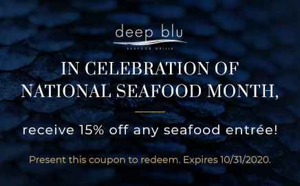 Celebrate National Seafood Month and get 15% off a seafood entree