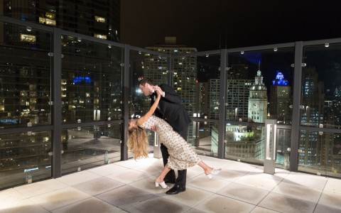 wedding at the Wyndham Grand Chicago Riverfront terrace