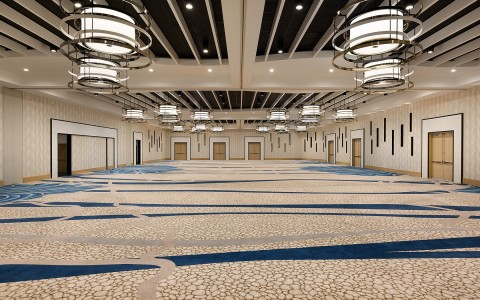large, empty, and spacious open ballroom