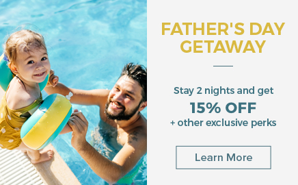 fathers day getaway - stay two nights and get 15% off